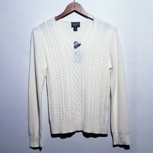 Chaps Classics | Cream V-Neck Cable Design Sweater